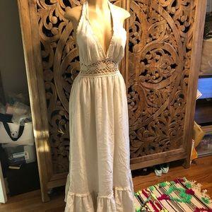 Stunning vintage white crocheted ruffle maxi dress